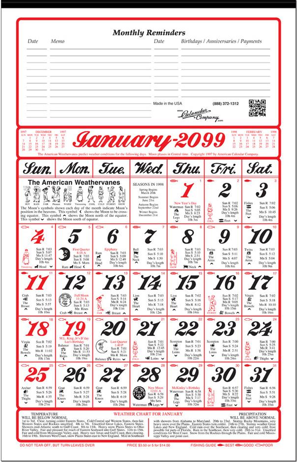 Almanac Calendar 2020 Calendar Company   2020 Old Farmers Almanac Calendar