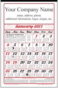 2018 american almanac calendar calendar company for Farmers fishing almanac