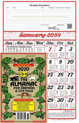 Americas Original Almanac Calendar and Almanac Book for Farmers