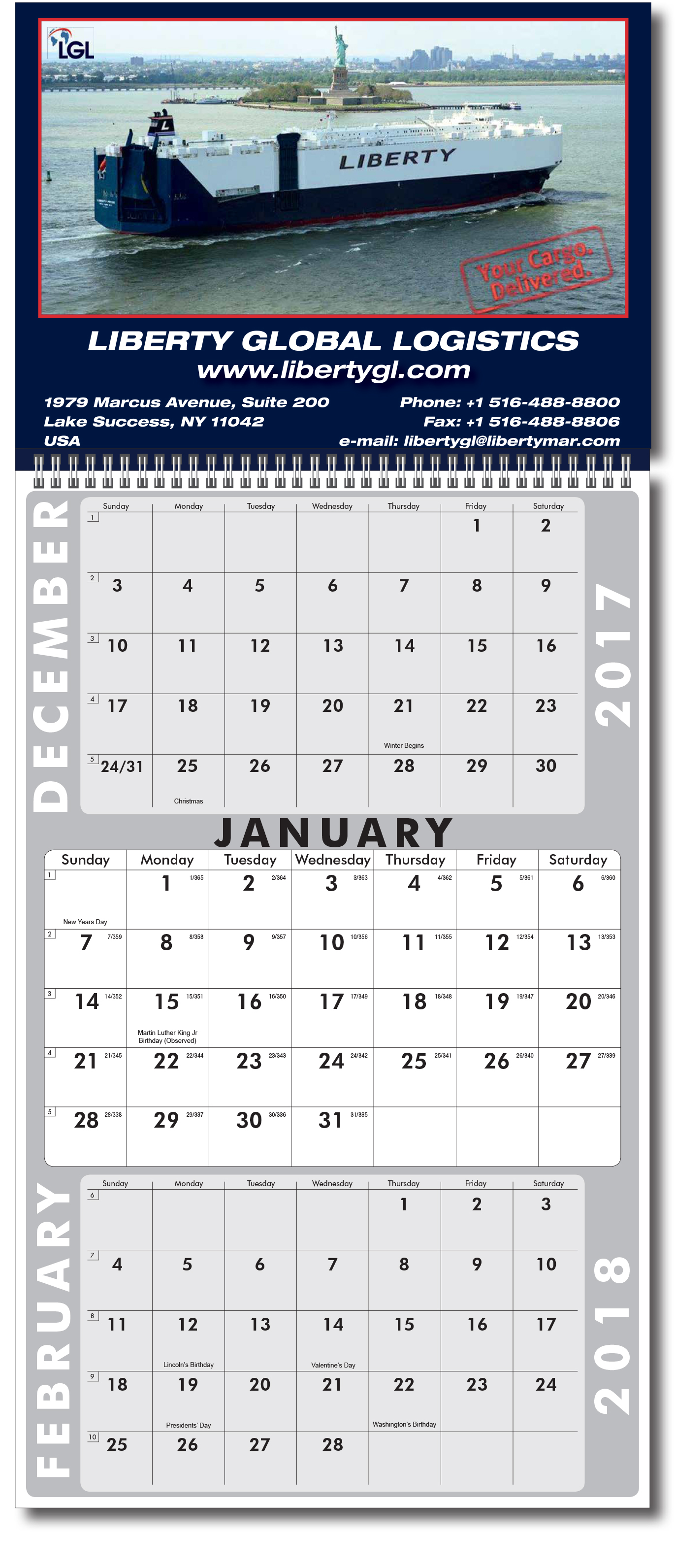 2018 3 Month Single Sheet Calendar Wire O Attached Top