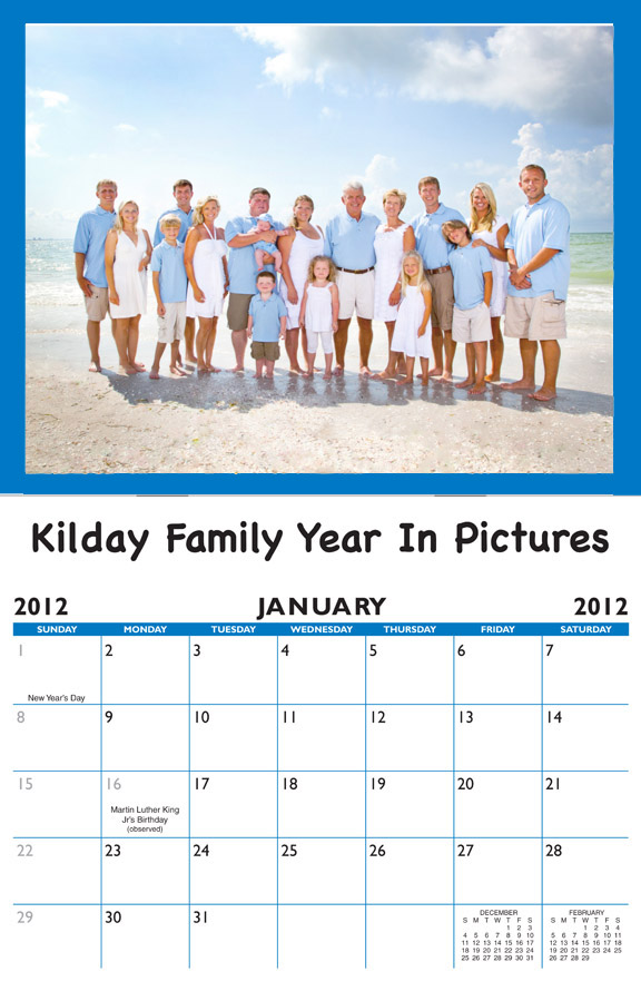 2020 Family Birthday Calendar Personalized Item