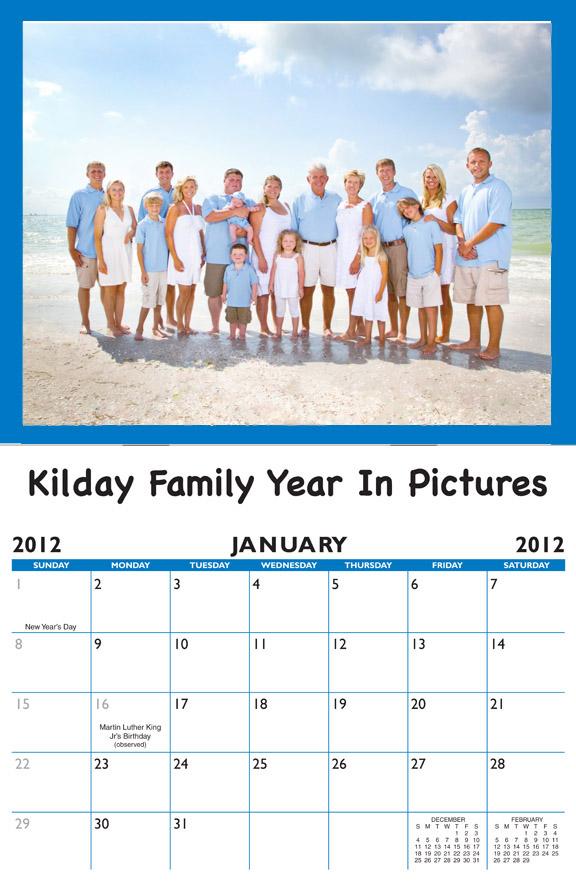 2018 family birthday calendar