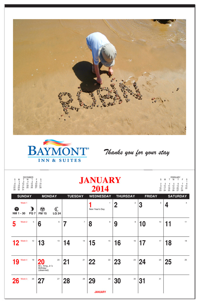 Custom Calendar 2019 2020 Custom Full Color One Picture Calendar   Stapled: Calendar