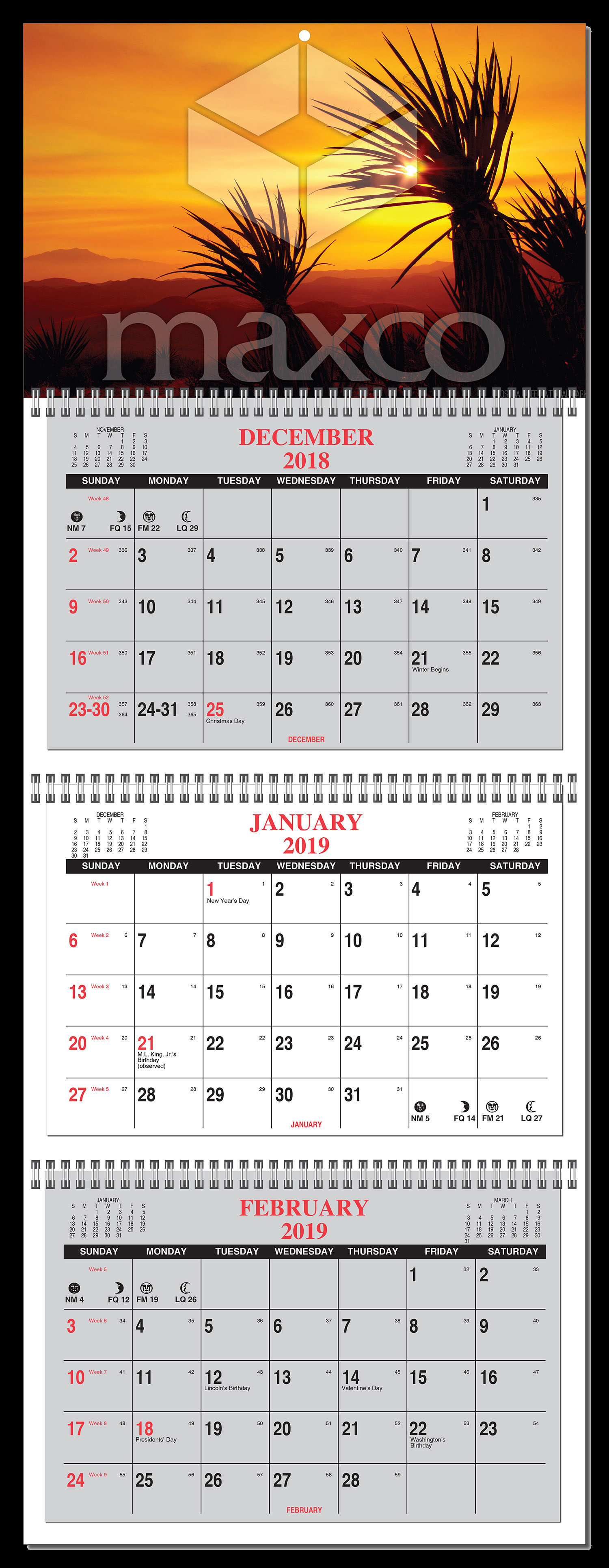 2019 3 month calendar at a glance 4 panel w numbered weeks