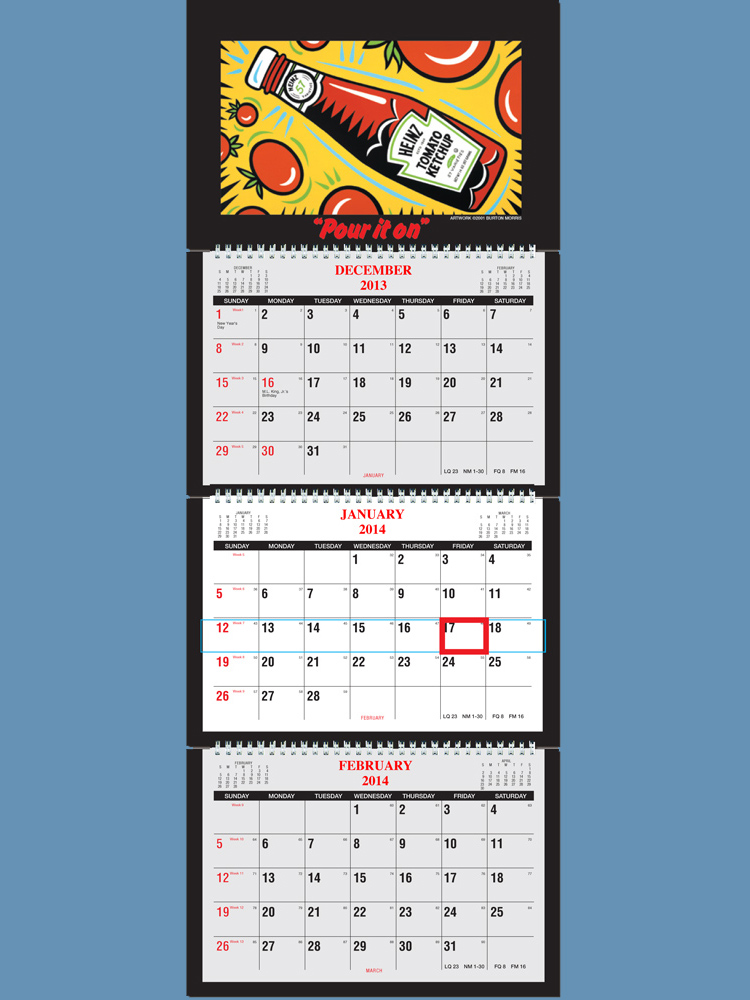 2018 3 Month Calendar at a glance- 4 Panel w/ Numbered weeks ...