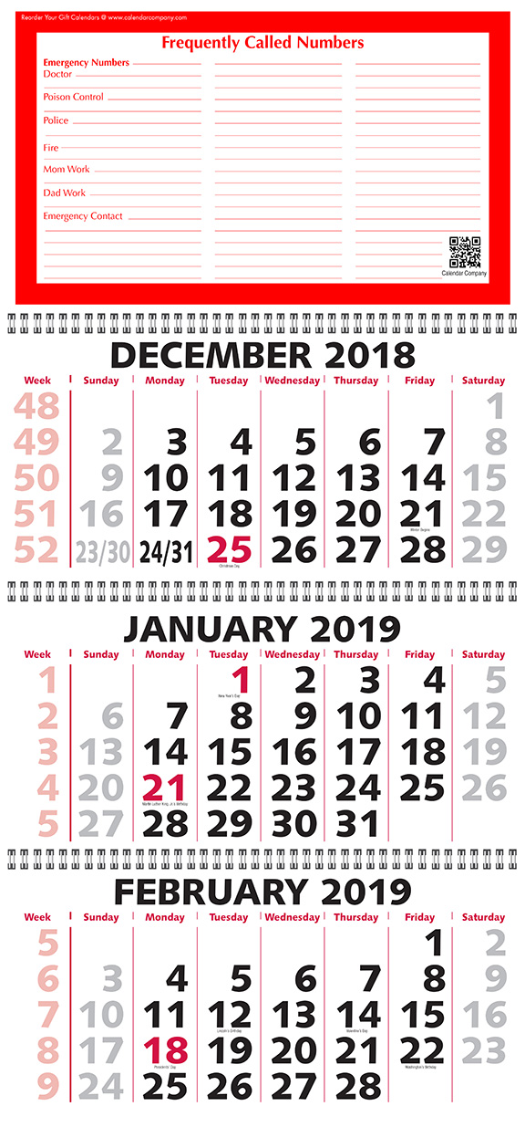 2019 or 2020 Three Month Calendar (3 month view) with week ...