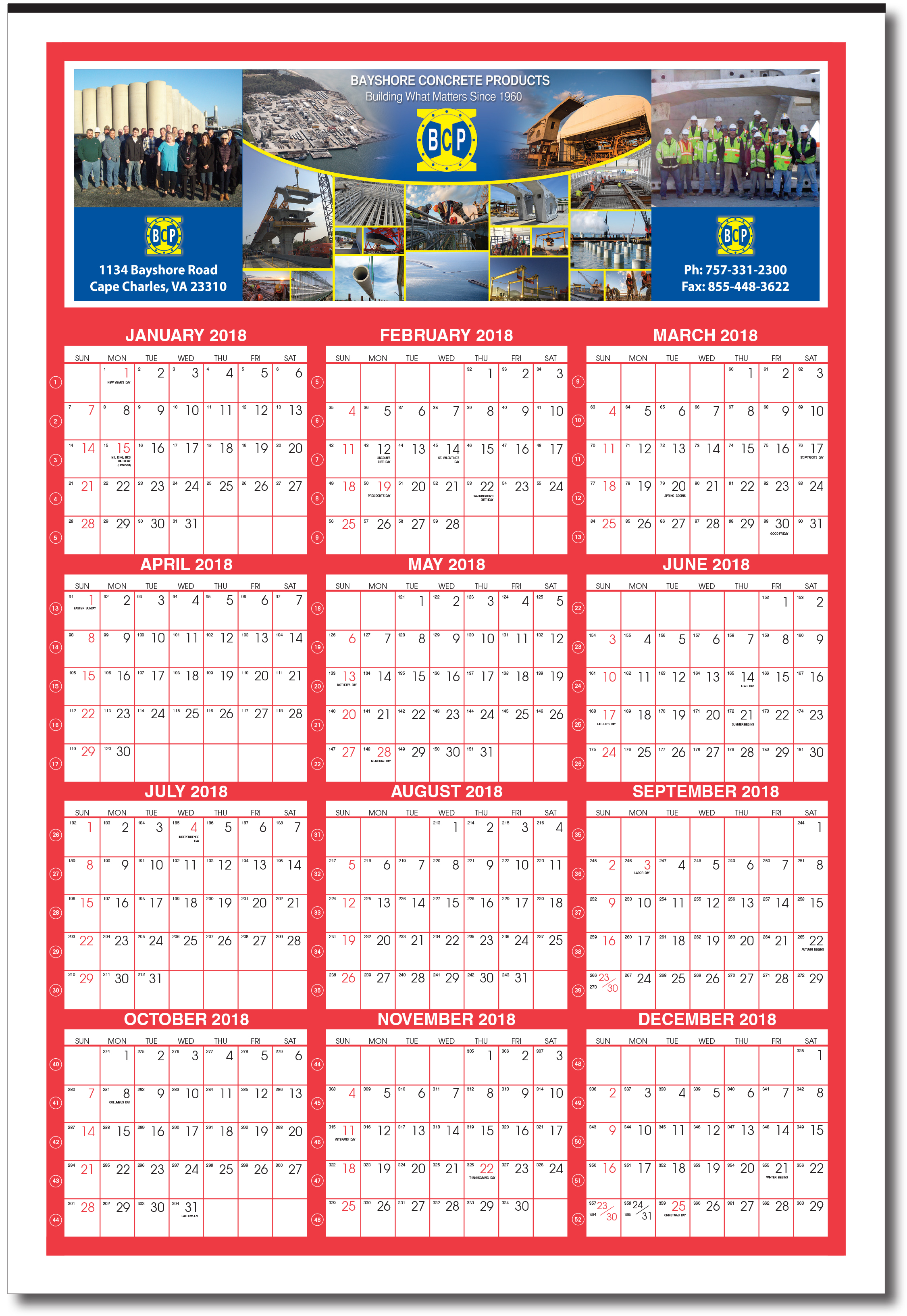 2019 giant custom year at glance calendar with week numbers item w39c