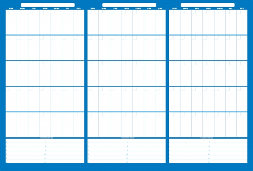 LARGE 3 months at a glance Erasable Wall Calendar with Dry Erase ...